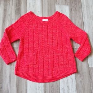 Jaclyn Smith Coral Chunky Knit 3/4 Sleeves